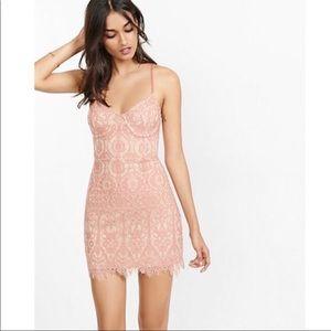 Express lace pink corset sheath dress